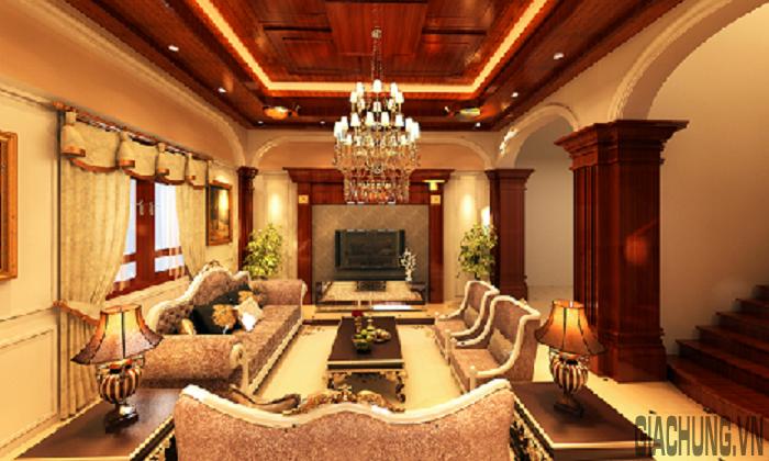 Tổng thể không gian phòng khách cổ điển sang trọng