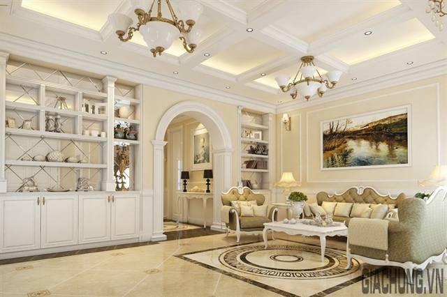Sử dụng tông màu trắng cho phòng khách sang trọng nhưng không kém phần cổ điển