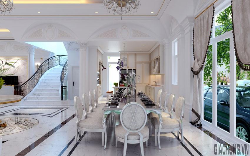 Không gian nhà bếp được trang trí bằng chi tiết phào màu nhạt tinh tế