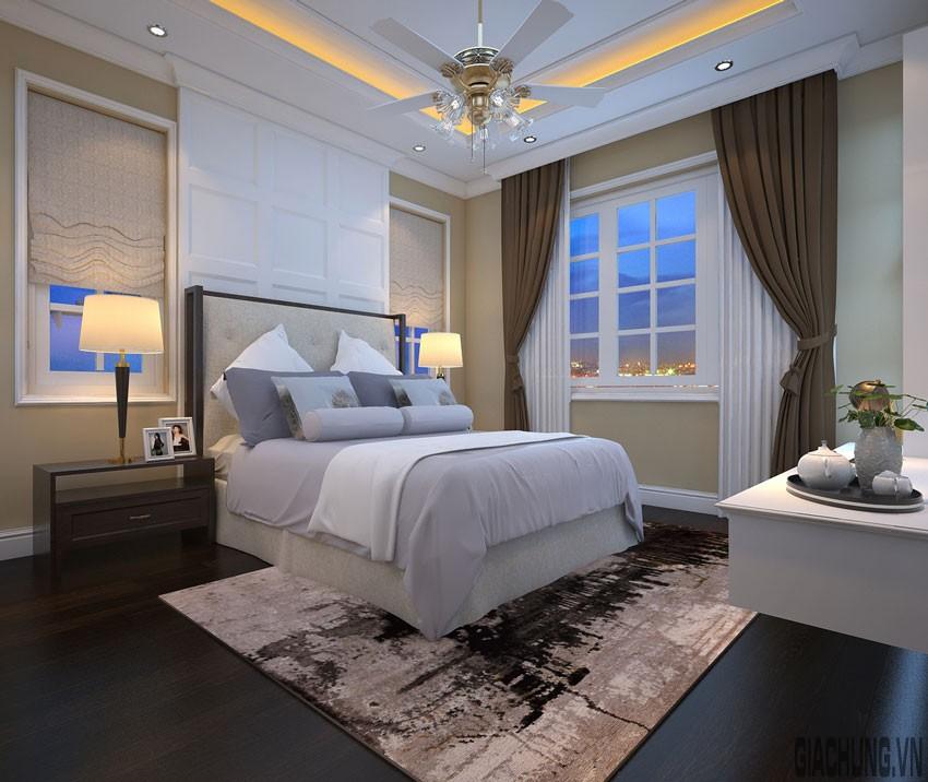 Chi tiết phào trang trí đối xứng ấn tượng ở đầu giường