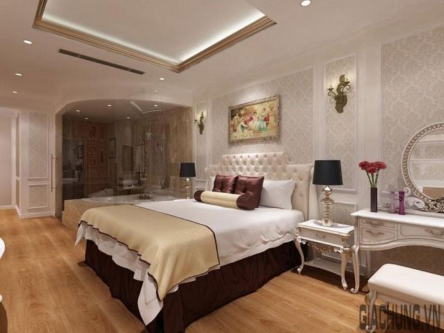 Phòng ngủ ấm cúng với phào chỉ trần nhà ánh kim