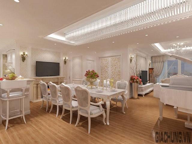 Phòng ăn với hệ thống đèn trần lộng lẫy suốt chiều dài