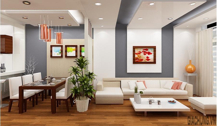 Trần nhà phòng khách nổi bật trong không gian nhà